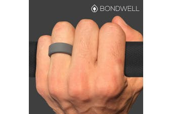 (13, Dark Gray) - Bondwell BEST SILICONE WEDDING RING FOR MEN Protect Your Finger & Marriage Safe, Durable Rubber Wedding Band for Active Athletes, Military, Crossfit, Weight Lifting, Workout - 100% Guarantee