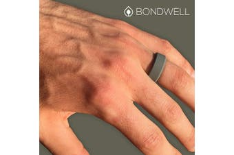 (8, Olive) - Bondwell BEST SILICONE WEDDING RING FOR MEN Protect Your Finger & Marriage Safe, Durable Rubber Wedding Band for Active Athletes, Military, Crossfit, Weight Lifting, Workout - 100% Guarantee