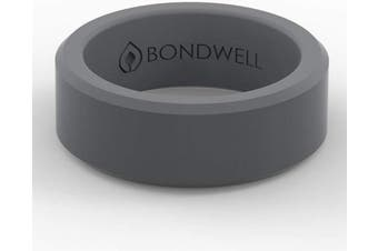 (7, Dark Gray) - Bondwell BEST SILICONE WEDDING RING FOR MEN Protect Your Finger & Marriage Safe, Durable Rubber Wedding Band for Active Athletes, Military, Crossfit, Weight Lifting, Workout - 100% Guarantee