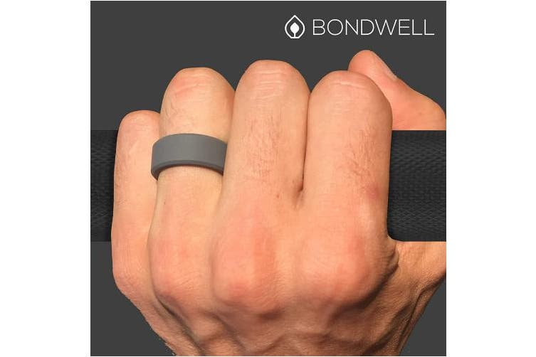 (10, Dark Gray) - Bondwell BEST SILICONE WEDDING RING FOR MEN Protect Your Finger & Marriage Safe, Durable Rubber Wedding Band for Active Athletes, Military, Crossfit, Weight Lifting, Workout - 100% Guarantee