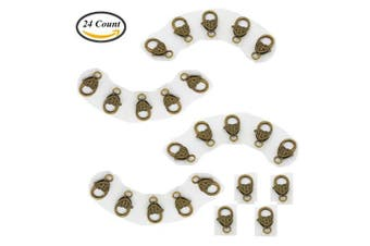 (# 4) - Aysekone 24 Pcs 27mm x 13mm Antique Bronze Heart Shape Lobster Claw Snap Clasp Hooks for Jewellery Finding Metal Key Ring (# 4)