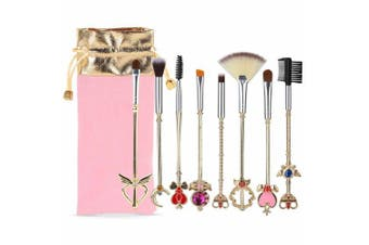 Coshine 8pcs Sailor Moon Gold Makeup Brush Set With Pouch, Magical Girl Cute Cosmetic Makeup Brushes With Pink Pouch
