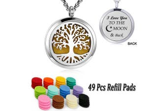 (Family tree diffuser necklace) - Essential Oil Diffuser Necklace Pendant Aromatherapy Diffuser Locket 49 Pads Women Jewellery Gift for Mum