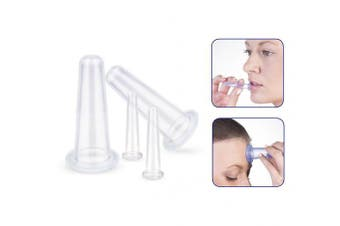 Auch Silicone Facial Cupping Therapy Set, Set of 4 Medical Silicone Massage Cellulite Cups For Eyes, Face, Chin & Neck Vacuum Suction, Face and Eye Cupping Massage Set, Clear