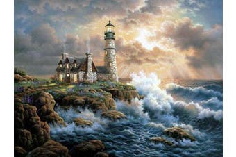 DIY 5D Diamond Painting by Number Kit, Full Diamond Lighthouse Rhinestone Embroidery Cross Stitch Arts Craft for Canvas Wall Decor