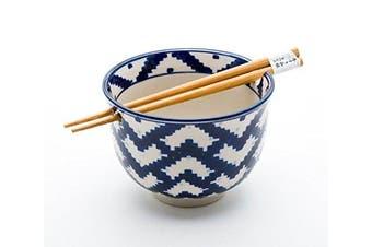 (Weave) - Quality Japanese Ramen Udon Noodle Bowl with Chopsticks Gift Set 13cm Diameter (Weave)