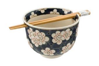 (Cherry Blossom) - Quality Japanese Ramen Udon Noodle Bowl with Chopsticks Gift Set 13cm Diameter (Cherry Blossom)
