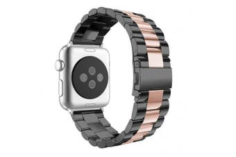 (42mm, Black/Rose Gold) - Aottom For Apple Watch Strap 42mm, 42mm iWatch Strap Stainless Steel Replacement Band Wrist Straps with Durable Folding Metal Buckle Clasp for 42mm Apple Watch Band Series 3/2/1 - Black/Rose Gold