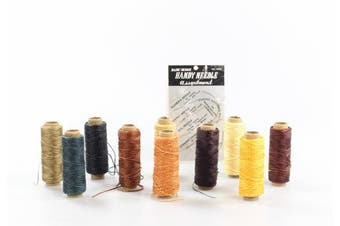 (10 Colour Thread Set) - BIGTEDDY - 10 Colours 150D 1mm Hand Stitching Waxed Leather Thread Dreamcatcher DIY Supplies for Leathercraft Project Sewing Repair 50+ Yards Each Colour