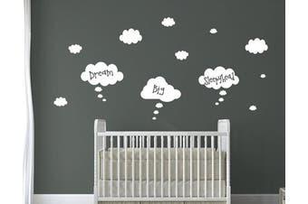 (Dream Big Sleepy Head) - Beautiful Floating Clouds Nursery Quotes. 6 Choices of Cute Quotes (Dream Big Sleepy Head)