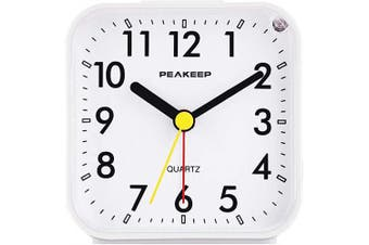 (White) - Peakeep Small Battery Operated Analogue Travel Alarm Clock Silent No Ticking, Lighted on Demand and Snooze, Beep Sounds, Gentle Wake, Ascending Alarm, Easy Set (White)