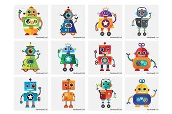 72 x Robot Temporary Tattoos Children's Birthday Loot Party Bag Filler
