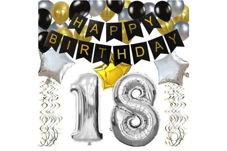 (18) - KUNGYO Classy 18TH Birthday Party Decorations Kit-Black Happy Brithday Banner,Silver 18 Mylar Foil Balloon, Star & Latex Balloon,Hanging Swirls, Perfect 18 Years Old Party Supplies