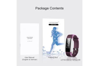(Purple) - LETSCOM Fitness Tracker HR, Activity Tracker Watch with Heart Rate Monitor, Waterproof Smart Bracelet with Step Counter, Calorie Counter, Pedometer Watch for Kids Women and Men