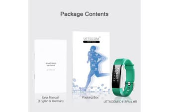 (Green) - LETSCOM Fitness Tracker HR, Activity Tracker Watch with Heart Rate Monitor, Waterproof Smart Bracelet with Step Counter, Calorie Counter, Pedometer Watch for Kids Women and Men