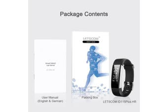 (Black) - LETSCOM Fitness Tracker HR, Activity Tracker Watch with Heart Rate Monitor, Waterproof Smart Bracelet with Step Counter, Calorie Counter, Pedometer Watch for Kids Women and Men