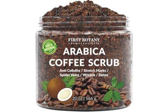 (590ml) - 100% Natural Arabica Coffee Scrub with Organic Coffee, Coconut and Shea Butter - Best Acne, Anti Cellulite and Stretch Mark treatment, Spider Vein Therapy for Varicose Veins & Eczema (590ml)