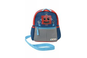 (robot) - Alphabetz Robot Toddler Backpack with Safety Harness Leash, Blue, Red, Universal Size