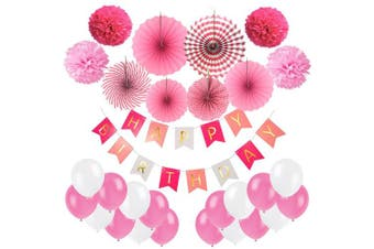 (Pink, Rose Red and White) - Cocodeko Birthday Decoration, Happy Birthday Banner, Tissue Paper Pom Poms, Hanging Paper Fan Set and 20 pcs Balloons for All Birthday Party Decorations - Pink, Rose Red and White