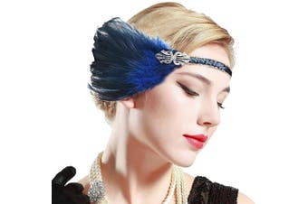 (Blue) - ArtiDeco 1920s Headpiece Vintage 1920s Flapper Headband Feather Crystal Headband Great Gatsby Costume Accessories Roaring 20's Accessories