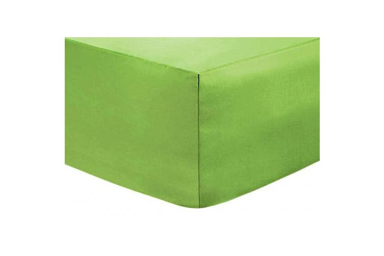 (Super King, Green) - Linen Zone Flat Bed Sheet Easy Care Polycotton 18 Colours, Super King - Green