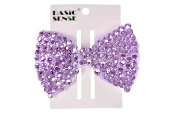 (Large, Lilac) - Beautiful Girls Shiny Rhinestone Essential Hair Bow Clip Accessories, School Disco, Birthday, Party Gift 1 pc, Lilac