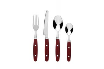 (Red) - Bon Henley 16-Piece Stainless Steel Cutlery Set - Red