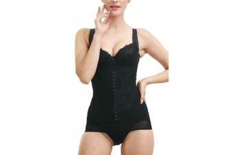 (Black2, UK 8-10 ( L )) - AMAGGIGO Shapewear Women's Full Body Shaper Waist Cincher Thigh Reducer Bodysuit Shapewear