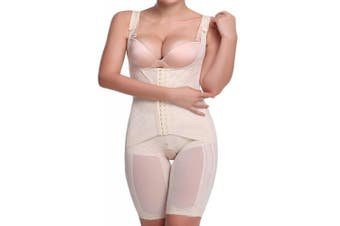 (Beige, UK 6-8 ( M )) - AMAGGIGO Shapewear Women's Full Body Shaper Waist Cincher Thigh Reducer Bodysuit Shapewear