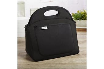 (Black) - Fit & Fresh Rosewood Neoprene Lunch Bag for Adults and Kids, Lightweight,Washable, Zips Closed, Black