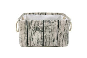 (X-Large(New)) - Jacone Stylish Tree Stump Design Wood Grain Rectangular Storage Basket Washable Cotton Fabric Nursery Hamper with Rope Handles, Decorative and Convenient for Kids Rooms (X-Large)