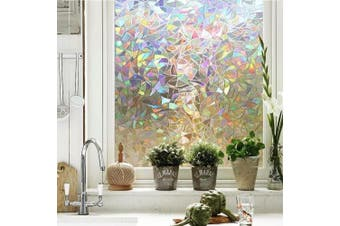 (Rainbow) - Maggift 3D Window Films Privacy Film Static Decorative Film, Non-Adhesive, Heat Control & Anti UV, 45cm . by 200cm . (Rainbow)