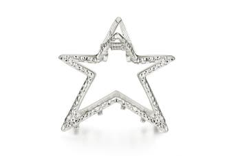 (Silver) - Cottvott Graceful Metal Star Shape Women Hair Claw Clips 2 Colours Silver Gold Large Size (Silver)