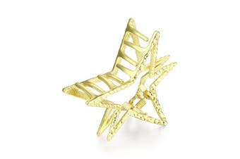 (Gold) - Cottvott Graceful Metal Star Shape Women Hair Claw Clips 2 Colours Silver Gold Large Size (Gold)