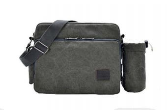 (Grey with Little Bag) - MiCoolker Multifunction Classic Versatile Mens and Womens Canvas Messenger Bag Handbag Crossbody Shoulder Bag Leisure Bag Travel Purse Change Packet