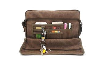 (L:Coffee) - MiCoolker Multifunction Classic Versatile Mens and Womens Canvas Messenger Bag Handbag Crossbody Shoulder Bag Leisure Bag Travel Purse Change Packet