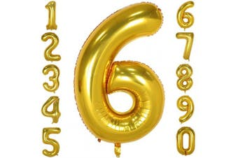 (Number 6, Gold) - 100cm Big Number Balloons Gold Mylar Foil Large Number 6 Giant Helium Balloon Birthday Party Decoration