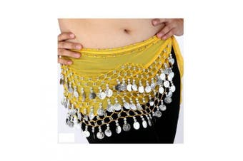 (Yellow) - Buy Home Chiffon Dangling Gold Coins Belly Dance Hip Skirt Scarf Wrap Belt