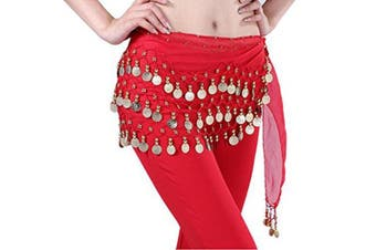 (Red) - Buy Home Chiffon Dangling Gold Coins Belly Dance Hip Skirt Scarf Wrap Belt