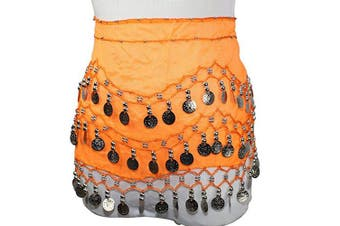 (Orange) - Buy Home Chiffon Dangling Gold Coins Belly Dance Hip Skirt Scarf Wrap Belt