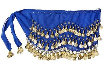 (Royal Blue) - Buy Home Chiffon Dangling Gold Coins Belly Dance Hip Skirt Scarf Wrap Belt