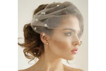 Auch Elegant Flower Crystal Birdcage Veil for Bride, Bridal Short Veil with Comb for Wedding, White