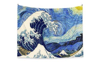 (Starry) - Van Gogh Starry Sky Tapestry Wall Hanging 150cm x 200cm , Fabric Oil Painting Japanese Ukiyoe Style, Home Decor Poster (Starry)