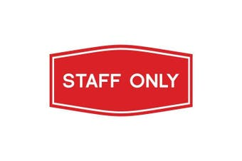 (23cm  x 11cm  - Large, Red) - Fancy Staff Only Sign (Red) - Large