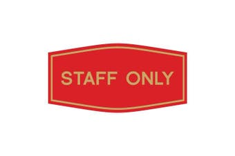 (23cm  x 11cm  - Large, Red/Gold) - Fancy Staff Only Sign (Red/Gold) - Large