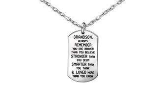 Necklaces Gifts for Grandson Silver Stainless Steel Dog Tag Pendants Accessories For Mens Boys