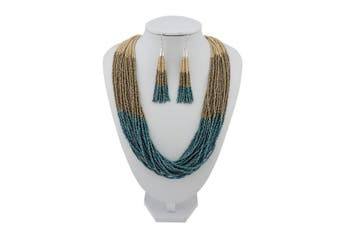 (Macabamia+dark khaki+dark teal) - BOCAR Multi Layer Beaded Statement Necklace Set Ocean Blue Strand Necklace and earrings for Women Gift