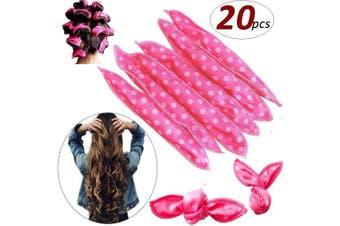 (Pink) - SYQ 20Pcs Magic Pillow Cloth Hair Roller for Long Medium Hair, Flexible Foam Sponge No Heat Nighttime Hair Curlers DIY The Sleep Styler No Harm Night Hair Rollers Styling Tool For Women-Pink