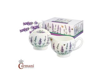 CARMANI - Porcelain sugar bowl and milk jug decorated with lavender theme