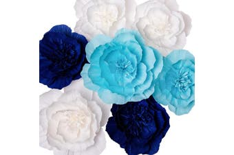 Key Spring Paper Flower Decorations, Giant Paper Flowers (Navy Blue, Light Blue, White, Set of 7), Large Paper Flowers, Crepe Paper Flowers for Wedding Backdrop, Nursery Wall Decorations, Baby Shower